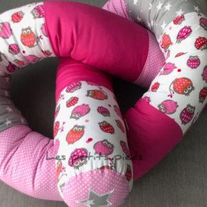 Bettschlange helgrau pink rosa Eule