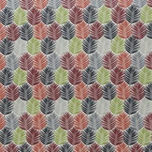 beschichtete Baumwolle - Blätter - blau / bordeaux / grün
