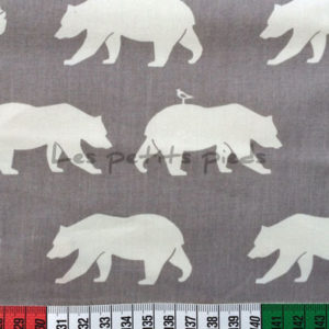 Baumwolle - Birch fabrics Bär hellgrau / weiss