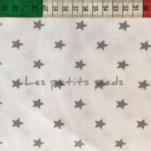 Bündchenstoff Schlauch Sterne weiss grau