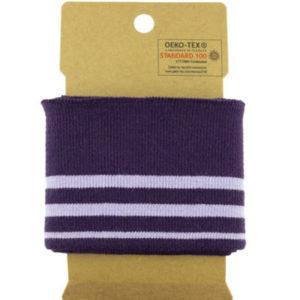 Bündchen Baumwolle - Streifen flieder / lila