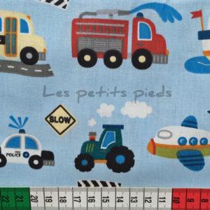 Baumwolle - Fahrzeuge hellblau