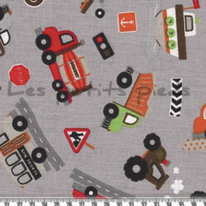 Baumwolle - Baufahrzeuge hellgrau / bunt
