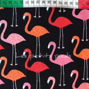 Baumwolle - Robert Kaufman Flamingo schwarz / pink