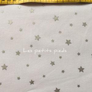 Baumwolle - Sterne weiss / silber