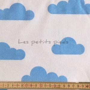 Baumwolle - Wolken weiss / hellblau