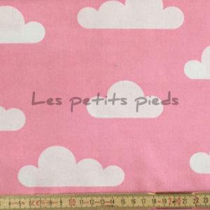 Baumwolle - Wolken rosa / weiss