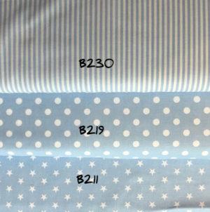 Baumwolle - Sterne hellblau / weiss