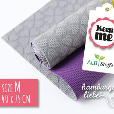Keep ME's - Grösse M grau / lila 40 x 75 cm