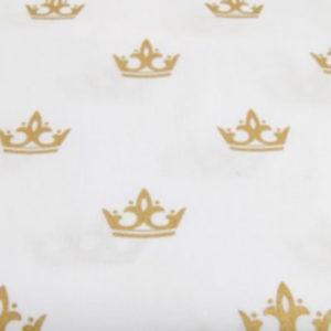 Baumwolle - Kronen weiss / gold