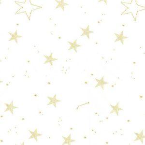 "Baumwolle - Michael Miller ""lucky stars"" - Sterne weiss / gold"