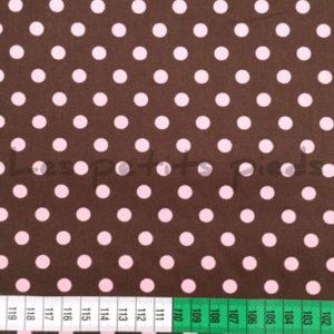 Baumwolle - Punkte dunkelbraun / rosa