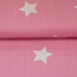 Baumwolle - Sterne gross rosa / weiss