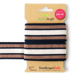 "Strickband - ""stripe me Glam"" dunkelblau / kupfer"