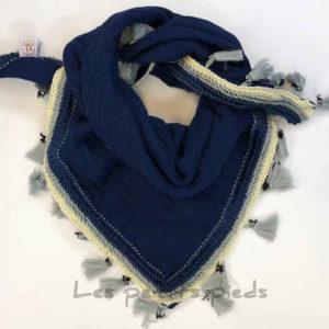 Dreieckstuch Mousselin - uni dunkelblau