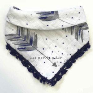 Dreieckstuch Mousselin - Pfeile weiss / dunkelblau