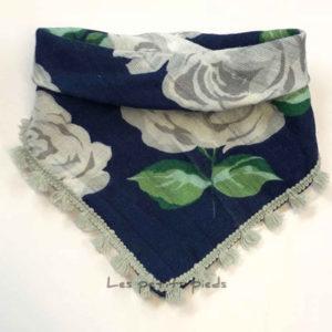 Dreieckstuch Mousselin - Rosen dunkelblau / grau