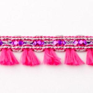 Quastenborte Mini - pink glitzer
