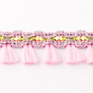 Quastenborte Mini - rosa glitzer