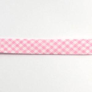Baumwollschrägband vichy Karo rosa / weiss