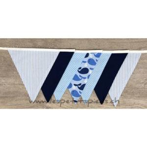 Wimpelkette Wale hellblau / dunkelblau