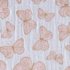 Double Gauze Schmetterlin zartrosa / gold