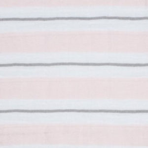"Double Gauze ""Ribbon stripe"" rosa / weiss / grau"