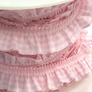 rüschenband rosa weiss