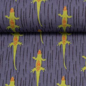 """Jersey Baumwolle - """"gecko by jolijou"""" - dunkleblau / grün"""