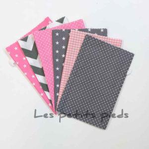 Adventskalender Säckchen Set mit Anhänger - rosa / grau