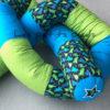Bettschlange türkis / grün / dunkelblau Dino