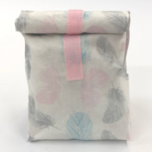 Lunchbag Federn rosa mint