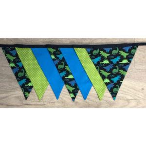 Wimpelkette türkis / grün / dunkelblau Dino