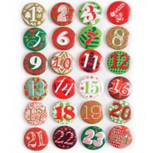 Adventskalenderzahlen 1-24 Buttons - rot / grün