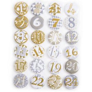 Adventskalenderzahlen 1-24 Buttons - silber / gold
