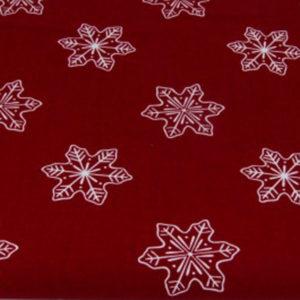 Baumwolle - Schneeflocke dunkelrot