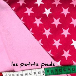 Softshell - uni double face Sterne - pink / rosa
