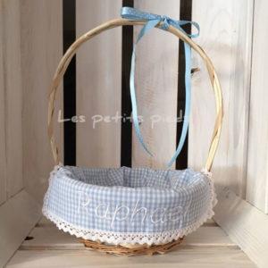 Personalisiertes Osterkörbchen - hellblau Vichykaro
