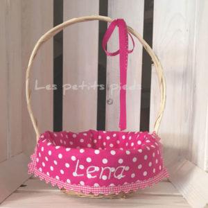 Personalisiertes Osterkörbchen - pink Punkte