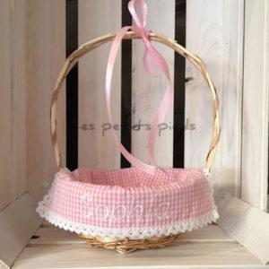 Personalisiertes Osterkörbchen - rosa Vichykaro