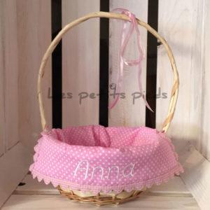 Personalisiertes Osterkörbchen - rosa Minipunkte