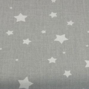 Baumwolle - Sterne klein hellgrau / weiss