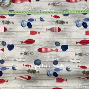beschichtete Baumwolle - Fische - natur / blau