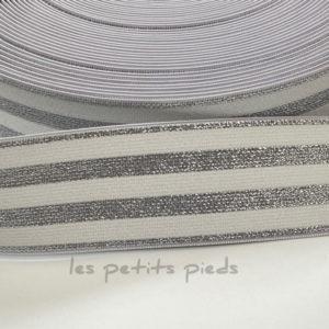 Gummiband 40 mm - Lurex - weiss / silber