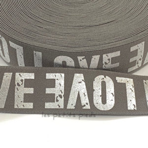 Gummiband 40 mm - Love - grau / silber