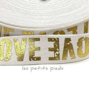 Gummiband 40 mm - Love - weiss / gold