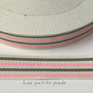 Gurtband Baumwolle 40 mm - Streifen rosa / weiss / grau