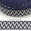 Gurtband 40 mm - Chevron beidseitig - dunkelblau / weiss