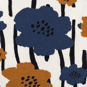 """Jersey Baumwolle - """"Johanna"""" Blumen - blau / senf"""