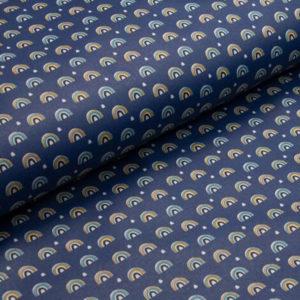 beschichtete Baumwolle - Regenbogen dunkelblau